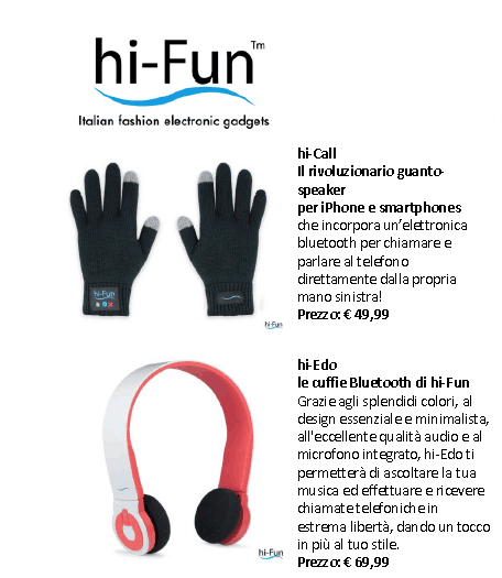 Da hi-Fun: hi-Call e hi-Edo, due novità bluetooth