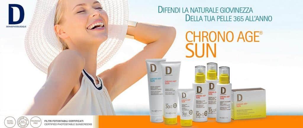 Chronoage Sun, la nuovissima linea solare Dermophisiologique che protegge dai radicali liberi