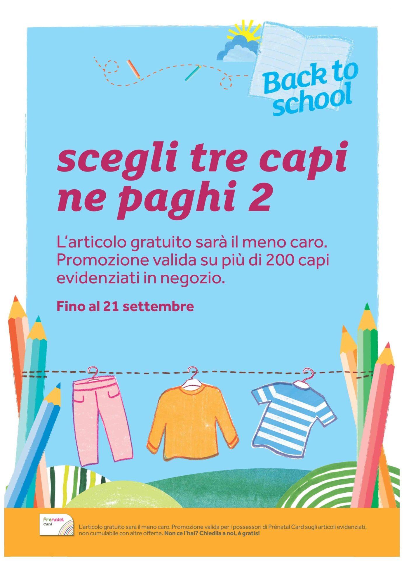 """Promozione """"back to school"""" prénatal: fino al 21 settembre prendi 3 capi e paghi 2!"""