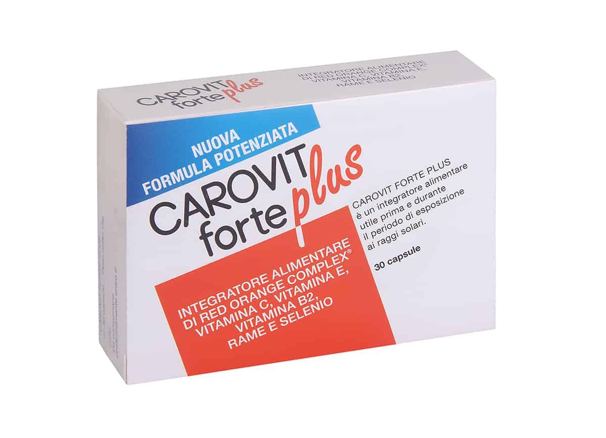 Carovit Forte Plus: integratore alimentare da assumere prima e durante l'esposizione ai raggi solari.