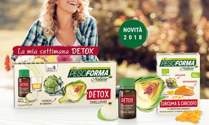 Pesoforma Nature Curcuma & Carciofo e Pesoforma Nature Detox Snellente, gli integratori alimentari biologici dall'efficacia antiossidante e detox snellente