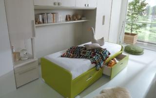 Camerette Dielle con comodino integrato BedSide: una nuova proposta in un originale colore verde muschio