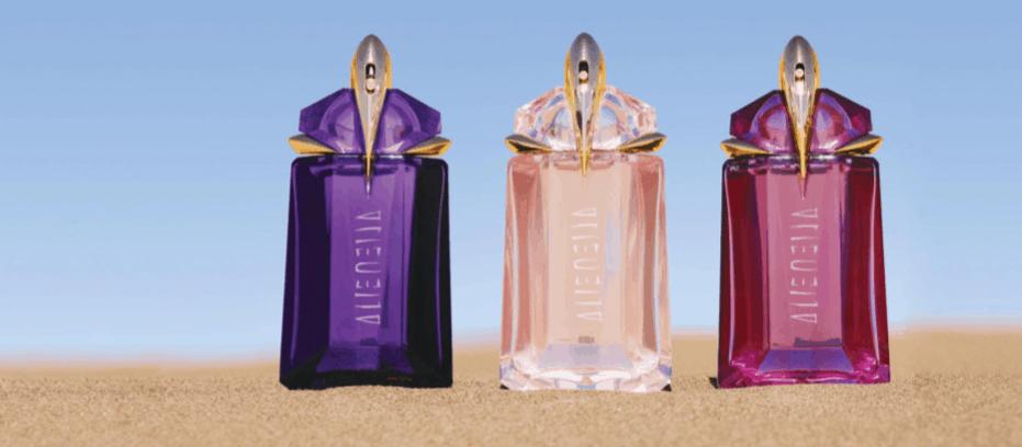 Tre flaconi per tre fragranze differenti